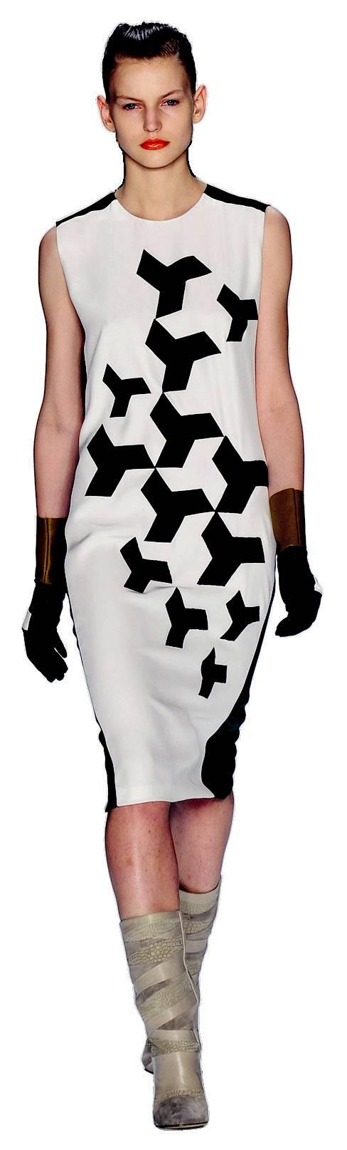 3. NARCISO RODRIGUEZ: Họa tiết hình học đen trắng là sự lựa chọn an toàn nhất cho những người yêu thích thời trang in nhưng còn chưa sẵn sàng mặc các tông màu sặc sỡ. Hãy chọn những mẫu thiết kế in đơn giản, khỏe khoắn và lạ mắt như của Narciso Rodriguez.