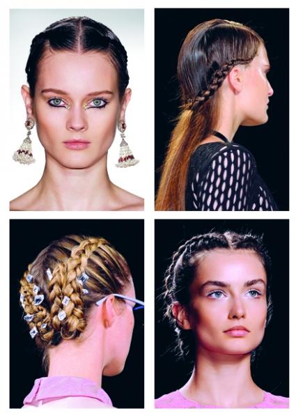 """3. New York - Cô gái tóc bím: <br/>Những kiểu tóc bím đang tiếp tục được lăng xê nhưng giờ đây không còn gọn gàng và ngoan ngoãn như trước. Các nhà tạo mẫu tóc đã đặt bím ở nhiều vị trí khác nhau với nhiều hình dáng hiện đại hơn. Cô gái thắt bím giờ đây chưa hẳn đã là """"gái ngoan"""" mà có thể rất mạnh mẽ, bụi bặm, không tuân theo một quy tắc nào."""