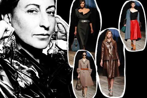 9. Miuccia Prada <br/>Những thiết kế của bà, từ nhừng chiếc túi nylon được thiết kế trong những năm 80 cho tới bộ sưu tập năm 2012 đã thật sự truyền cảm hứng cho nhiều nhà thiết kế, kể cả bộ sưu tập năm 2013 cũng sẽ là biểu tượng thời trang cho thập kỉ tới.