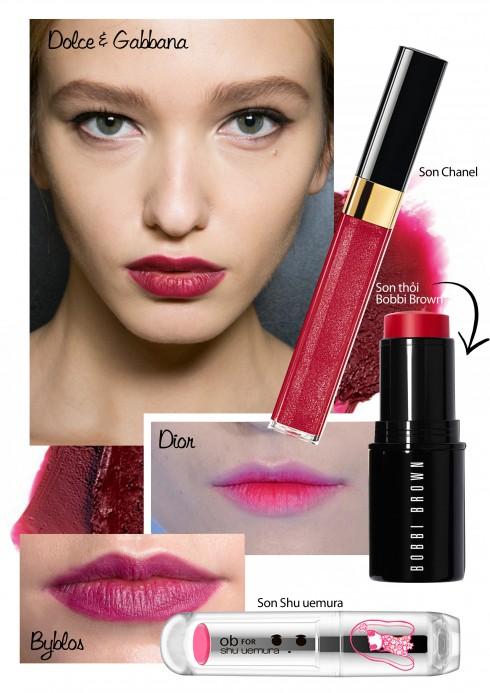 Son môi lì<br/>Bạn thích màu đỏ như nhung trong show của Dolce & Gabbana? Đỏ tím nồng nàn Anteprima hay hồng neon của Dior? Mùa này, cách duy nhất để tô son màu mạnh là dùng son lì.