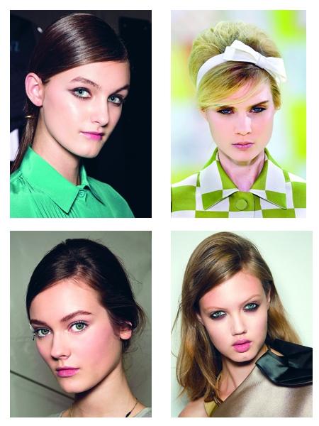 """1. Paris - Đường ngôi lệch: <br/>Một chút cổ điển, một chút hiện đại, tóc mái chải thấp đang là """"tâm điểm chú ý"""" của các nàng. Đi đầu trong khuynh hướng này chính là các kiểu tóc vừa nữ tính vừa tinh nghịch lấy cảm hứng từ phong cách những năm 1960s trong show Louis Vuitton. Tóc chải lệch thấp tạo nên các góc cạnh hình học cho gương mặt và che đi các khuyết điểm như khuôn mặt dài và vầng trán quá rộng. Chỉ một đường rẽ ngôi có tác dụng làm cho khuôn mặt trẻ trung hơn, thu hút sự tập trung vào đôi mắt và làm nổi bật phần trang điểm. Đường ngôi nên được rẽ lệch một bên thật dứt khoát và táo bạo, phần mái bên tóc nhiều sẽ được giấu vào tai."""
