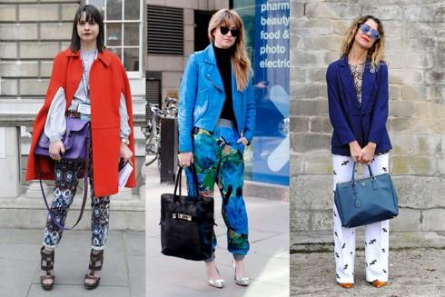 3. Màu sắc nổi bật<br/>Một cách phối đồ đầy ngẫu hứng. Hãy sử dụng áo khoác mang màu sắc nổi trội. Bạn có thể phối cặp màu tương đồng với họa tiết in ở quần để có sự hòa trộn màu sắc tinh tế.