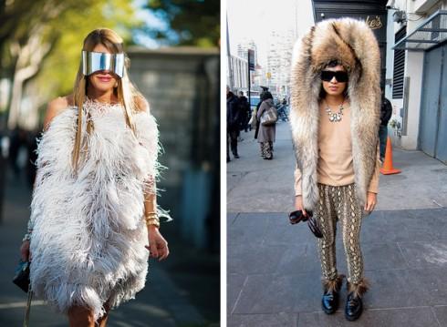 Trái: Biên tập của tờ Vogue Nhật Bản trong trang phục và kính của Alexander McQueen. Phải: Blogger Bryanboy đội thiết kế mũ của Maison Martin Margiela