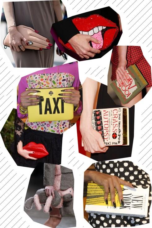 clutch cầm tay đầy sáng tạo với hình ảnh bàn tay, đôi môi, hay cuốn sách nhỏ gọn nhưng cũng vô cùng tiện dụng.