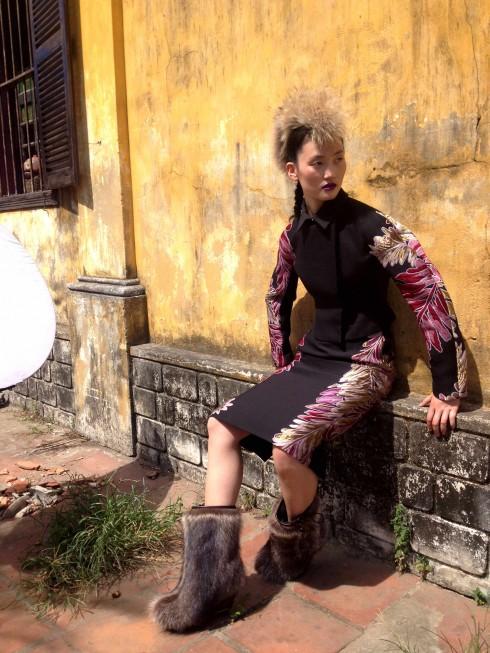 Lina trong thiết kế đặc trưng của Gucci cho mùa Đông 2013