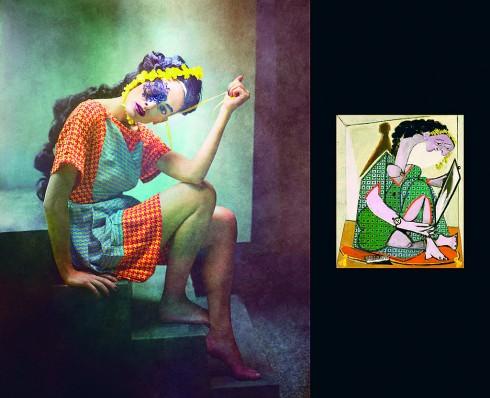 Ảnh của Eugenio Recuenco và tranh nguyên bản của Picasso.