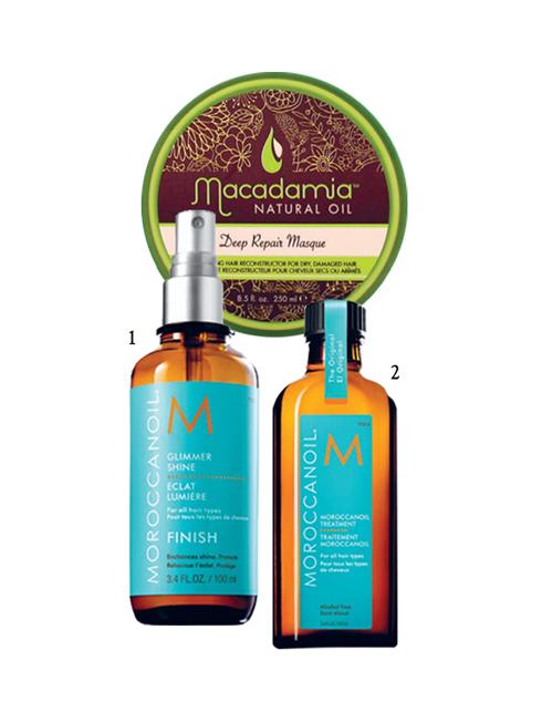 1.Xịt dưỡng bóng Moroccanoil 2.Dầu dưỡng tóc Moroccanoil 3.Mặt nạ dưỡng tóc Macadamia Natural Oil