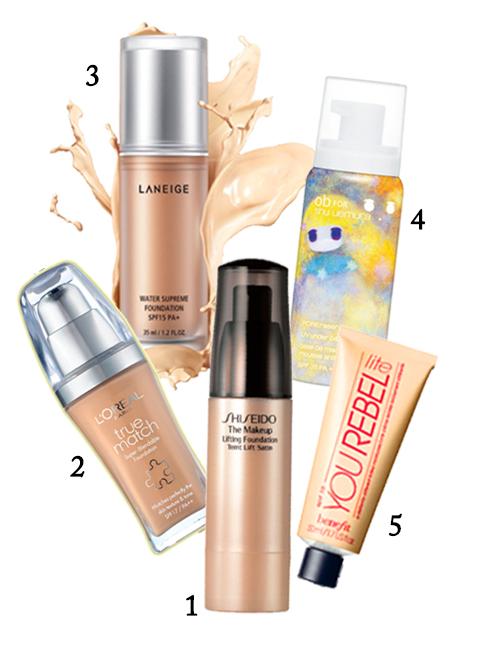 1.Phấn nền Shiseido 2.Phấn nền L'oréal 3.Phấn nền Laneige 4.Lót trang điểm dạng mousse Shu Uemura 5.Kem dưỡng có màu Benefit
