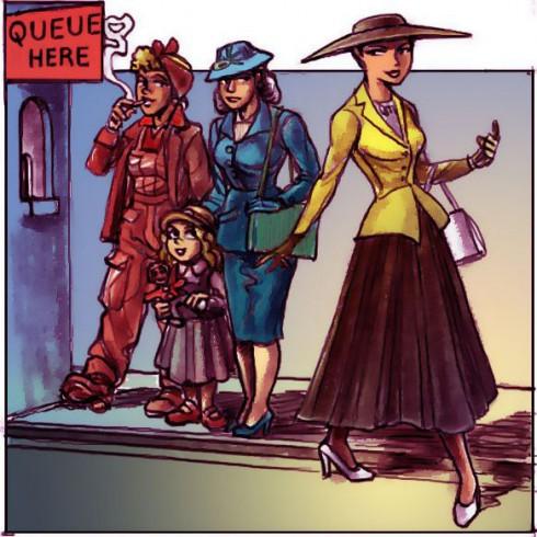 Bức biếm họa về sự đối lập giữa người phụ nữ New Look và phụ nữ thời chiến