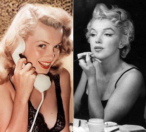 So sánh gương mặt Marilyn Monroe những năm 40 (trái) và những năm 50 (phải)
