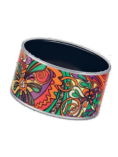 Vòng tay to bản họa tiết hoa nhiều màu chế tác từ vàng và trang trí trên nền men sứ cao cấp HERMÈS