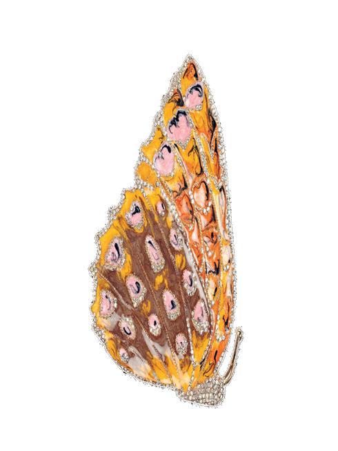 Cài áo cánh bướm làm từ vàng, pha lê, tráng men chuyển màu ánh xà cừ VALENTINO