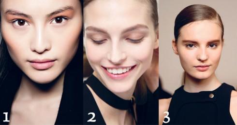Toàn bộ gương mặt của người mẫu được trang điểm gần như tối giản, để làm nổi bật làn da trong suốt không tì vết. 1.BLUMARINE - 2.CHLOÉ - 3.BARBARA BUI
