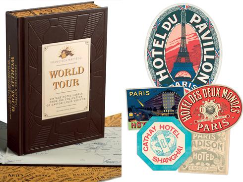 """World tour  Vintage Hotel Labels - Louis Vuiton<br/>Thương hiệu Louis Vuitton gắn liền với những đồ du lịch làm bằng da huyền thoại và đó chính là lý do để cuốn sách này ra đời. """"World Tour"""" giới thiệu những dòng tâm sự đầy riêng tư và đặc biệt là BST các tem mác khách sạn cổ do Gaston-Louis Vuitton, cháu trai của nhà sáng lập nhãn hiệu Louis Vuitton, đã sưu tầm trong chuyến chu du vòng quanh thế giới của mình."""