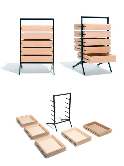 """Ngăn kéo Bon của Keiji Ashizawa<br/>Ngăn kéo Bon được làm từ gỗ veneer sồi. Từ """"Bon"""" trong tiếng Nhật có nghĩa là """"Khay"""". Bạn không chỉ sử dụng Bon như một ngăn kéo mở ra đóng vào bình thường mà còn có thể sử dụng từng ngăn kéo này như những chiếc khay riêng biệt. Thanh trượt của ngăn kéo chỉ là thanh phẳng, gắn vào với khung, được làm với cấu trúc tối giản nhất dành cho ngăn kéo. Thêm vào đó, bạn có thể di chuyển chúng dễ dàng bằng bánh xe và tay kéo gắn trên khung."""