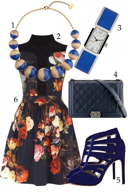 Thứ 3: Váy in hoa cùng phụ kiện trơn màu <br />  1.LOUIS VUITTON 2.OASIS 3.FURLA (≈4.860.000 VNĐ)  4.CHANEL 5.KAREN MILLEN (≈5.290.000 VNĐ)