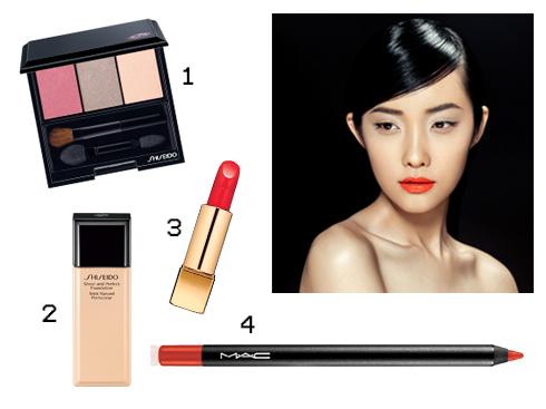 Sản phẩm gợi ý: 1.Phấn mắt tông màu trung tính Shiseido 2.Kem nền Sheer and Perfect Shiseido 3.Son môi Chanel 4.Chì kẻ môi tông cam M.A.C