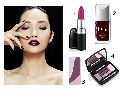 Sản phẩm gợi ý: 1.Son môi M.A.C 2.Sơn móng tay Dior 3.Phấn mắt tông tím Shu Uemura 4.Phấn mắt tông tím Lancôme