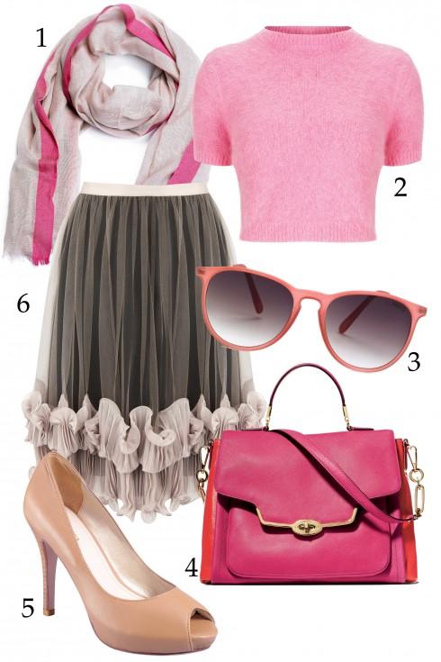 Thứ hai: Tuần mới với chân váy xếp nếp và croptop hồng pastel.<br />1.MANGO 2.TOPSHOP 3.MANGO 4.COACH 5.GOSTO 1.995.000 VNĐ 6.COAST
