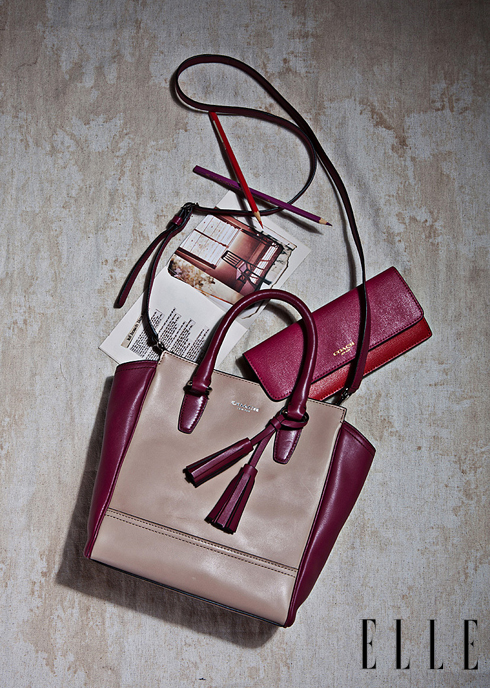 Túi xách và ví da hai màu COACH.