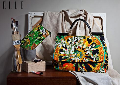 Ví da cầm tay in họa tiết DSQUARED2. Túi xách vải cotton in họa tiết hoa DOLCE&GABBANA