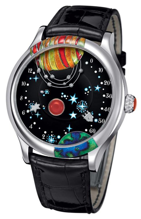 Mẫu đồng hồ của Van Cleef & Arpels mang đầy cảm hứng văn chương với những hình ảnh đến từ tiểu thuyết của Jules Verne. Mặt đồng hồ làm bằng ngọc bích, mã não và men sứ VAN CLEEF & ARPELS