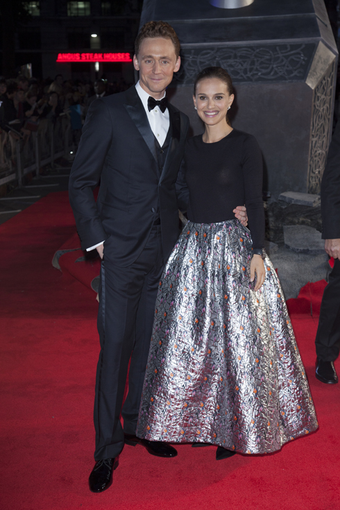 <br/>Actors Tom Hiddleston and Natalie Portman at the Global Premiere for