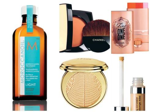 1.Dầu bóng tóc Moroccanoil 2. Phấn phủ Les Beiges Chanel 3.Má hồng kèm highlight dạng sáp Benefit 780.000 VNĐ 4.Phấn phủ bắt sáng  Diorific Perfumed  Illuminating Powder Dior 2.150.000 VNĐ