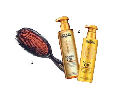 1. Lược bàn Mason Pearson 2. Bộ dầu gội và dầu xả nuôi dưỡng tóc bằng tinh dầu Mythic Oil L'Oréal Professionnel