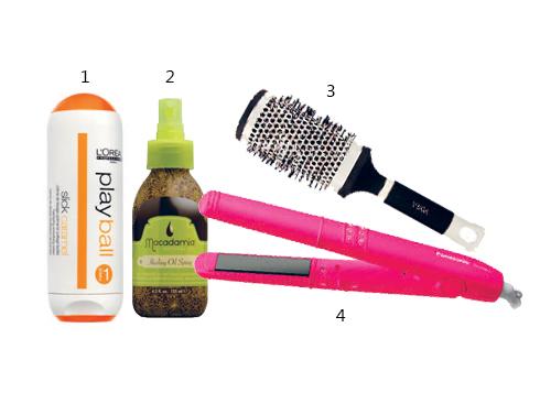 1. Kem giữ nếp cho tóc suôn Play ball L'oréal Professionnel 2. Xịt dưỡng tóc Macadamia Natural Oil 3. Lược tròn tạo kiểu 4. Kẹp thẳng công nghệ Nanoe Panasonic