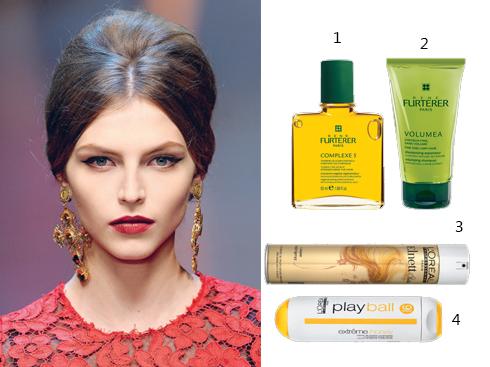 1&2: Bộ sản phẩm René Furterer gồm tinh dầu dưỡng tóc và da đầu và Dầu gội làm dày tóc 3. Keo xịt tóc Elnett với độ cứng cao. Tốc độ bay hơi của keo cao, giúp định hình tóc dễ dàng 4. Gel định hình cho tóc ngắn và vừa L'Oréal Professionnel