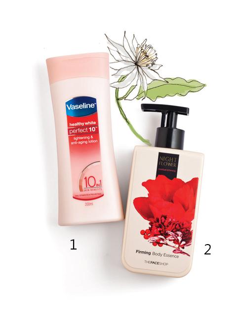 POPULAR STAR<br/>1.Vaseline Lightening & Anti-aging Lotion: Sữa dưỡng thể dưỡng trắng và ngăn ngừa lão hóa chứa vitamin B3; AHA giúp loại bỏ tế bào chết, giảm dần các nếp nhăn và cải thiện làn da; Pro-Retinol giúp kích thích sản xuất collagen và giảm thiểu các dấu hiệu lão hóa. <br> 2.Thefaceshop Firming Body Essence: Tinh chất dưỡng thể với mùi hương của những loài hoa nở vào ban đêm. Kết cấu dạng tinh chất lỏng dễ thấm sâu vào da để nuôi dưỡng và tăng cường độ đàn hồi mà không để lại cảm giác bết dính.