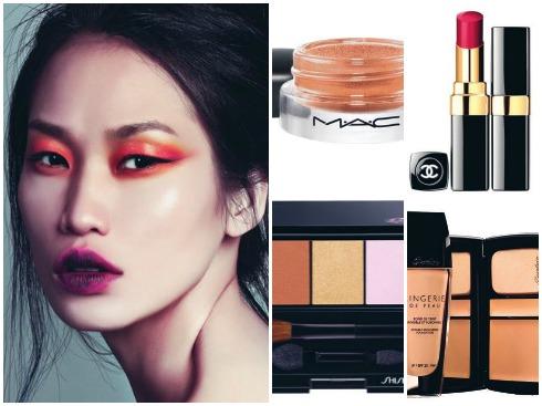 Mắt màu hoàng hôn xuất hiện trong rất nhiều show diễn lớn: các sắc cam, đỏ, vàng tưởng chừng khó chinh phục nhưng lại làm đôi mắt châu Á thu hút  đến bất ngờ. Kết hợp  với môi tím.<br/>1.Màu mắt dạng kem M.A.C 550.000 VN 2.Son đỏ tím Chanel 867.000 VNĐ 3.Phấn mắt 3 màu  Shiseido 850.000 VNĐ 4.Bộ kem nền che phủ tốt nhưng vẫn mỏng mịn Guerlain