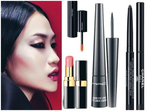 Viền mắt dưới rất thịnh hành thời gian gần đây. Khi đã nhấn vào đôi mắt, hãy giữ lớp nền và màu son nude trong suốt. Tóc ép sát, chải mượt, rẽ ngôi giữa rất thích hợp với những cô gái cá tính và có khuôn mặt đẹp.<br/>1. Son nude dạng kem Shiseido 670.000 VNĐ 2. Son nude Chanel 867.000 VNĐ 3. Viền mắt nước M.A.C 550.000 VNĐ 4. Chì viền mắt không lem 663.000 VNĐ