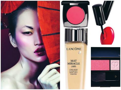 Đôi môi đỏ bầm nhiều sắc độ. Hãy thử kết hợp nhiều kết cấu, sắc màu trên một làn môi. Ở đây, son đỏ dạng kem được sử dụng ngay lòng môi để tạo độ chín mọng. Son đỏ đi cùng má phớt hồng.<br/>1.Má hồng Chanel 1.258.000 VNĐ 2.Son đỏ dạng kem Shiseido 670.000  VNĐ 3.Kem nền cho kết cấu lì  Lancôme 4.Má hồng 2 tone Clé De Peau Beauté 1.790.000  VNĐ