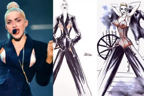 Madonna sau tour diễn Blond Ambition năm 1989 không chỉ nổi tiếng với hình ảnh chiếc corset chóp nhọn mà còn có bộ suit kẻ sọc phối cùng với nó. Cả hai đều do Jean-Paul Gaultier thiết kế. Cách phối hợp táo bạo của cô đã làm dấy lên trào lưu trang phục giao hòa giữa sự nữ tính và nam tính. Khắp nơi, người ta dễ dàng bắt gặp những cô gái văn phòng mặc áo hai dây ren hoặc áo sát nách lụa mềm mại với pant suit hoặc skirt suit.