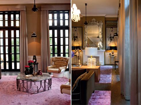 Phòng khách pha trộn phong cách mang dấu ấn 2 thời kì thuộc Pháp và Mỹ, đôi ghế Elda đặc trưng thời Mỹ trước 1975 của nhà thiết kế Joe Colombo. Các cửa được mở rộng terrace bên hông toà nhà.