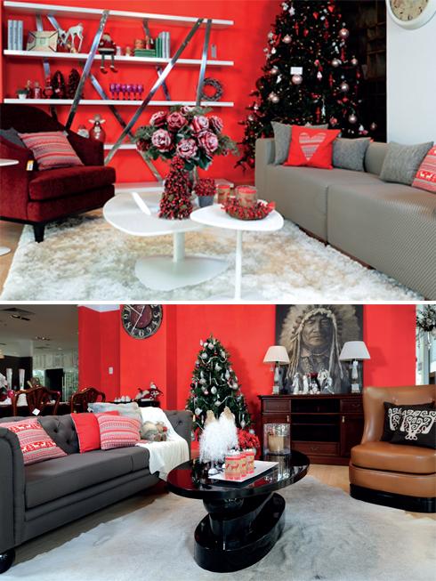 Một ví dụ về sự sắp đặt hoàn hảo giữa màu đỏ trên không gian chung, xám bạc ở sofa. Tất cả cộng hưởng với màu nâu và đỏ rượu vang lịch lãm của ghế bành và trắng tuyết trang nhã của tấm thảm êm ái.