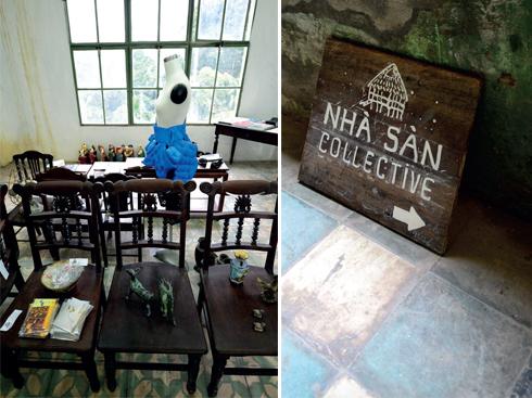 Trên nền một công trình xưa cũ, nhiều không gian nghệ thuật đã thành hình. Nhà Sàn Collective là nơi thường xuyên diễn ra các dự án nghệ thuật đương đại.