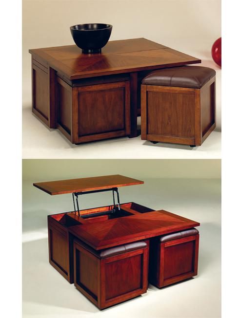 Với một người coi nhà mình là văn phòng thì mẫu bàn thuộc bộ sưu tập Nuance của Hammary là một lựa chọn thích hợp. Chiếc bàn làm từ gỗ cao su được thiết kế để có thể vừa là bàn ăn hay uống trà, vừa có thể là bàn làm việc. Một nửa mặt bàn có thể nâng lên, để lộ ra bên dưới các ngăn dùng để đựng đĩa CD hay dụng cụ làm việc và một phần giá để sách, tài liệu. Hai chiếc ghế có đệm êm ái có thể xếp gọn vào bên dưới nửa mặt bàn còn lại, cho bạn bộ bàn ghế hoàn hảo cho một cặp đôi.