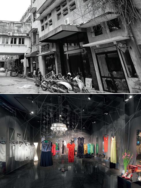 Tiệm Double Dose nơi cho bạn cảm giác trái ngược giữa một bên là vẻ ngoài hoang tàn và một bên là không gian thời trang.