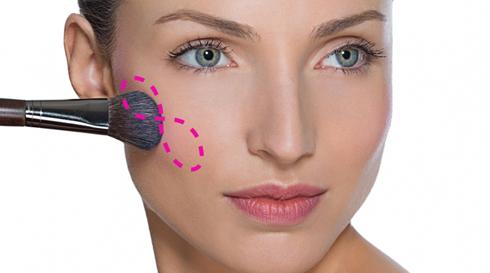 Làm khuôn mặt dài ngắn đi: Quét phấn từ gò má hướng lên thái dương, một chút ngang qua mi mắt và trên cằm. Khi mi mắt, má và cằm có cùng sắc độ sẽ làm khuôn mặt bạn ngắn hơn.