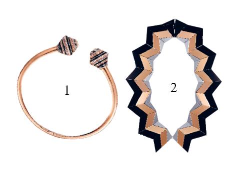 1.Vòng cổ mang tên Emancipated được chế tác từ vàng hồng và hematite, đá thạch anh, ngọc mắt mèo và kim cương Cartier 2.Vòng cổ khối hình học bằng bạc mang phong cách Art Deco Louis Vuitton