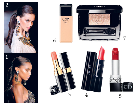 1&2.Dsquared2 3.Son hồng da Chanel 4.Son môi siêu mượt Shiseido 5.Son đỏ nhiều ẩm Dior 6.Kem nền mỏng nhẹ Shiseido 7.Phấn mắt ánh kim loại Chanel
