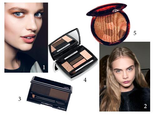 1.Dsquared2 2.Derek Lam 3.Bột kẻ lông mày Shiseido 4.Phấn mắt 5 màu Lancôme 6.Bronzer Guerlain