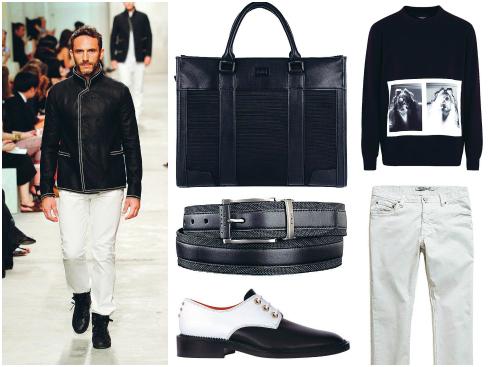 Áo nỉ Neil Barrett, quần H.E By Mango, túi da Pedro, thắt lưng Tumi, giày Givenchy