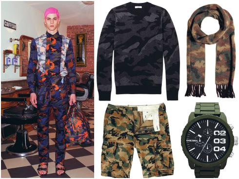 Áo len Valentino, quần lửng Levi's, khăn quàng Ralph Lauren, đồng hồ Diesel.