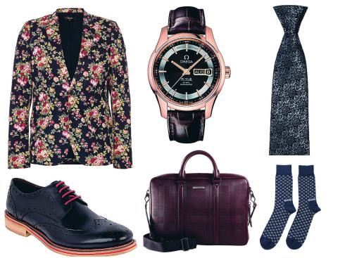 Áo blazer Topman, giày da Pedro, đồng hồ Omega, túi da Burberry, cà-vạt Pedro, tất Paul Smith.