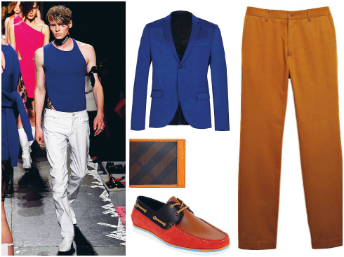 Áo suit Aleander McQueen, quần H.E By Mango, ví Burberry, giày Pedro.