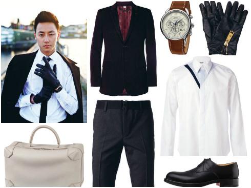 Găng tay da Versace, áo sơmi Burberry London, áo sơmi Kenzo, đồng hồ dây da nâu Hermès, quần Kenzo, túi xách  dạng chữ nhật Hermès, giày da Hermès.